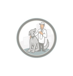 Veterinarian vet with pet dog cartoon vector