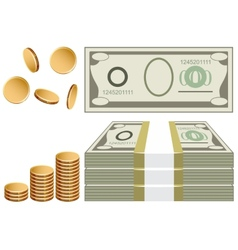 Cash coins bills vector