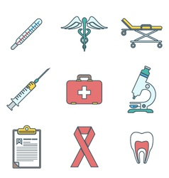 Outline colored medical icons set vector