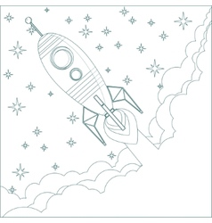 Cartoon flying rocket in the sky with stars vector
