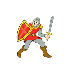 Medieval knight shield sword standing cartoon vector