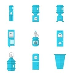 Blue water coolers flat icons set vector