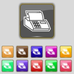 Cash register machine icon sign set with eleven vector