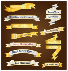 Gold and silver ribbon for mother day vector