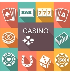 Gambling related icons poster card and vector
