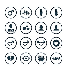 Couple love icons universal set vector