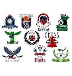 Sports game heraldic emblems with items vector