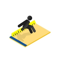 Long jump isometric 3d icon vector