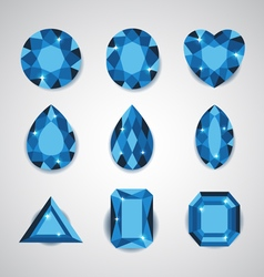Blue diamonds and ruby icons set vector