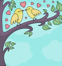 Birds kissing on a brunch vector