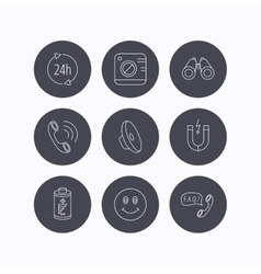 Phone call battery and faq speech bubble icons vector