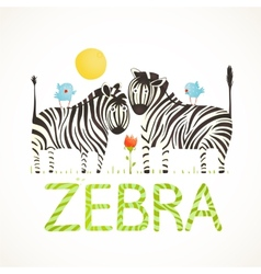 African Zebra Animals and Fun Lettering Cartoon vector image vector image