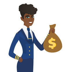 Arican-american stewardess holding a money bag vector
