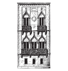 Balcony italy vintage engraving vector