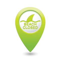 beach closed sharks symbol green map pointer vector image vector image