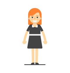 Beautiful redhead girl in black dress vector