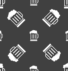 Beer glass icon sign seamless pattern on a gray vector