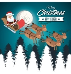 card merry christmas santa flying reindeer vector image vector image