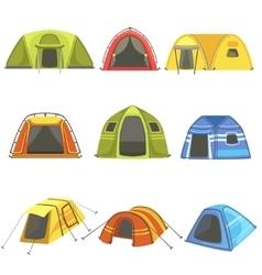 Colorful tarpaulin tents set vector