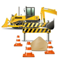 Construction Machines with Barrier vector image vector image