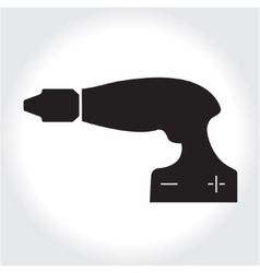 Drill tool icon black silhouette element logo vector