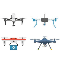 Drone quadcopter set vector