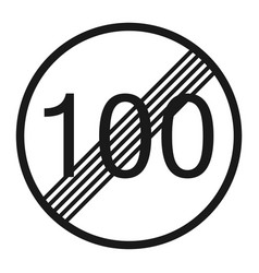 End maximum speed limit 100 sign line icon vector