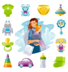 Family shopping icon set with young mother baby vector