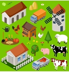 Farm isometric set vector image vector image