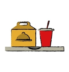 Fast food take out box and plastic cup soda sketch vector
