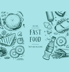 Fast food vintage hand drawn graphic design vector