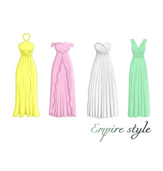 Four dresses in empire style vector
