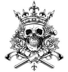 Graphic skull with crossed bones and revolvers vector