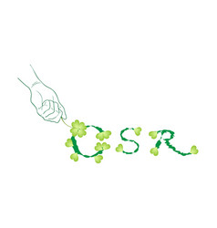 Hand holding green leaves with corporate social re vector
