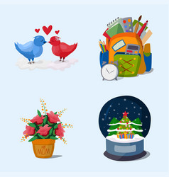 happy holidays different icons holidays vector image vector image