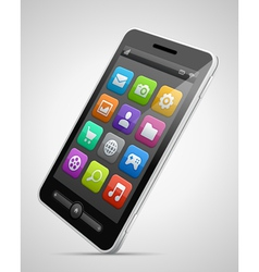 Mobile 05Mobile phone and icons vector image vector image