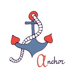 Nautical anchor a is for anchor vector