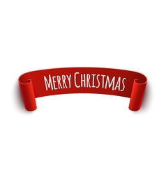Paper curved label with merry christmas sign vector