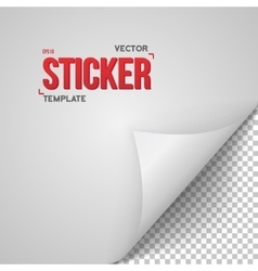 Paper Sticker Realistic Bended Page White vector image vector image