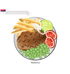 Pljeskavica or meat patties the national dish of vector