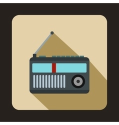 Retro radio receiver icon flat style vector
