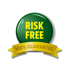 Risk free label in green and yellow colors vector
