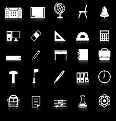 School icons with reflect on black background vector image