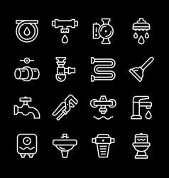 set line icons of plumbing vector image