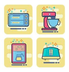 Set of cartoon home appliance icon vector
