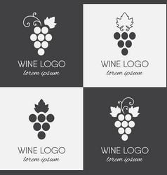 set of grapes logo vector image vector image