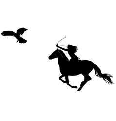 silhouette of an amazon warrior woman riding a vector image vector image