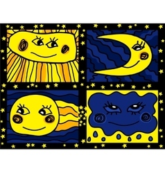 Sun and Moon doodle pattern vector image vector image