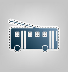 Trolleybus sign blue icon with outline vector