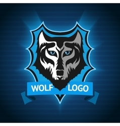 wolf logo badge template for sport teams vector image vector image